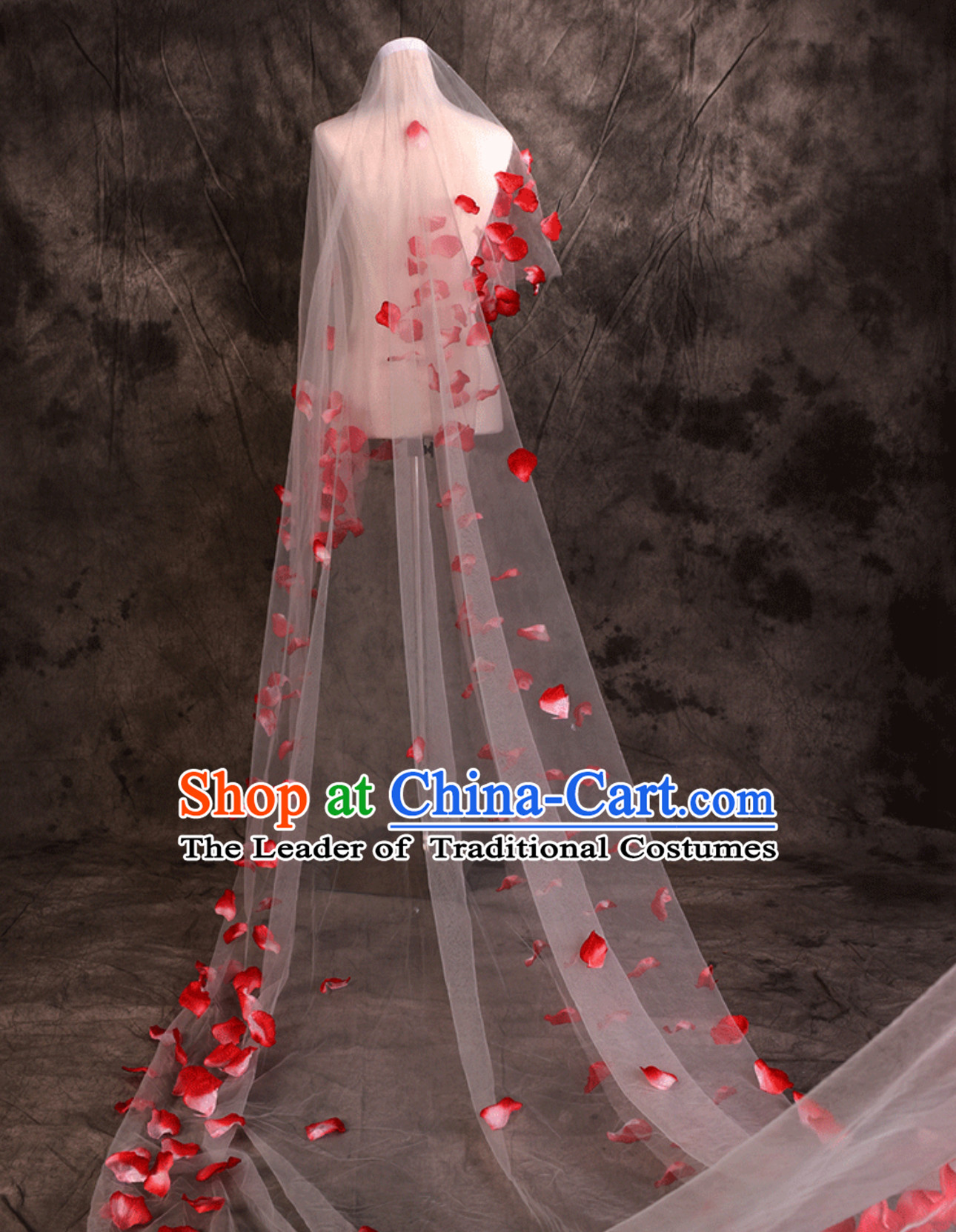 1.75 Meters Long Romantic Flower Petal Wedding Veil