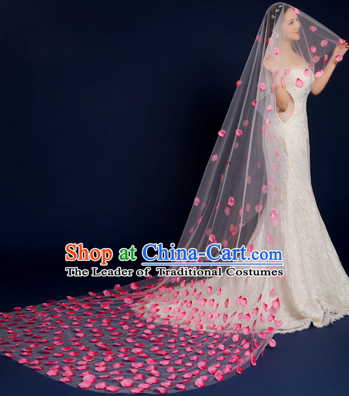 1.75 Meters Long Handmade Romantic Flower Petal Wedding Veil