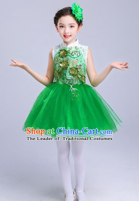 Top Grade Chorus Costumes Children Modern Dance Embroidered Paillette Green Bubble Dress for Kids