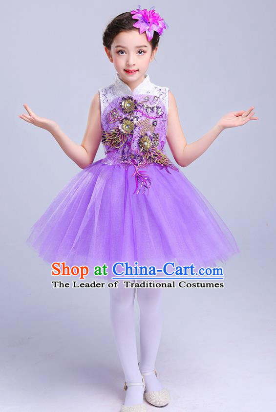 Top Grade Chorus Costumes Children Modern Dance Embroidered Paillette Purple Bubble Dress for Kids
