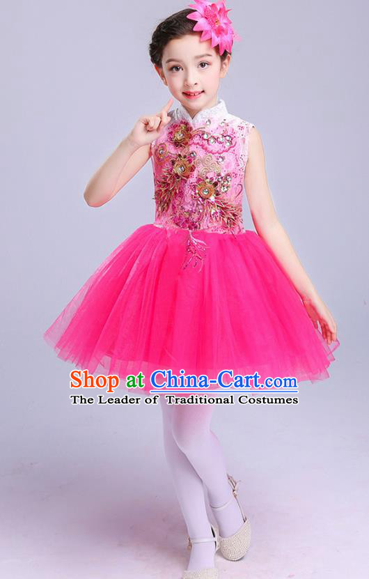 Top Grade Chorus Costumes Children Modern Dance Embroidered Paillette Rosy Bubble Dress for Kids