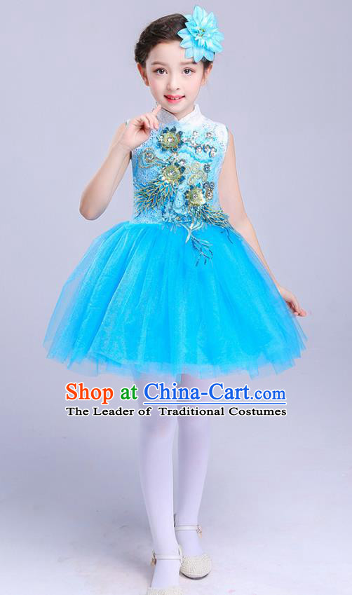Top Grade Chorus Costumes Children Modern Dance Embroidered Paillette Blue Bubble Dress for Kids