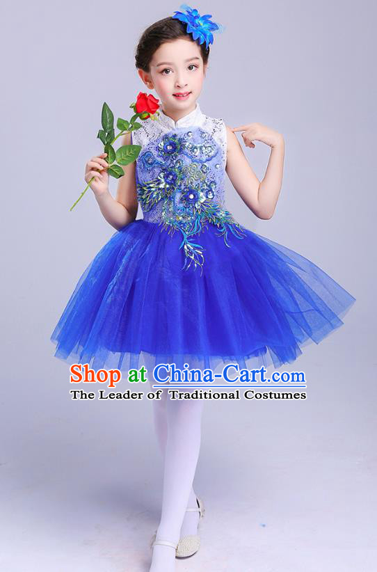 Top Grade Chorus Costumes Children Modern Dance Embroidered Paillette Royalblue Bubble Dress for Kids