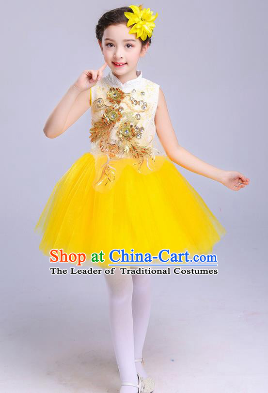 Top Grade Chorus Costumes Children Modern Dance Embroidered Paillette Yellow Bubble Dress for Kids
