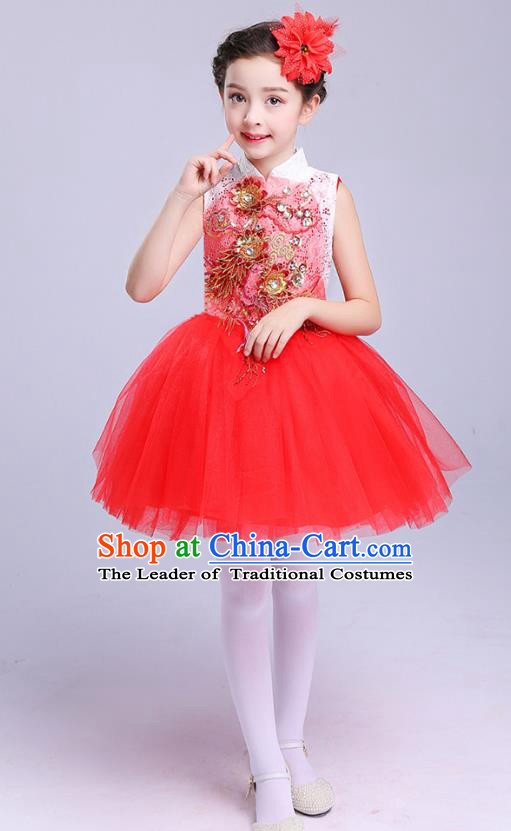 Top Grade Chorus Costumes Children Modern Dance Embroidered Paillette Red Bubble Dress for Kids