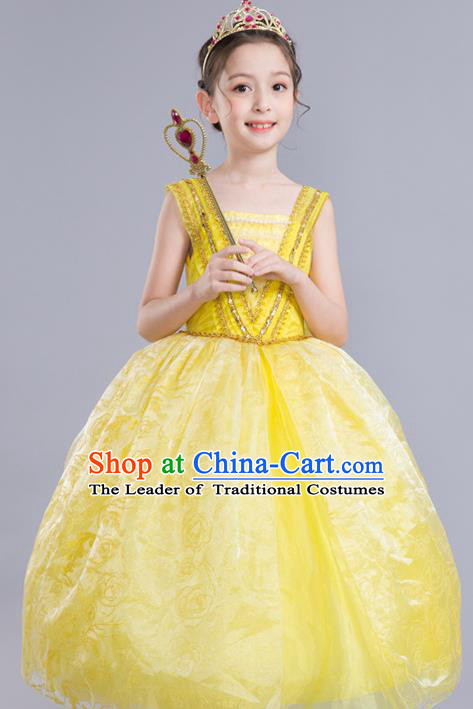 Top Grade Chorus Costumes Children Modern Dance Clothing Princess Bubble Dress for Kids