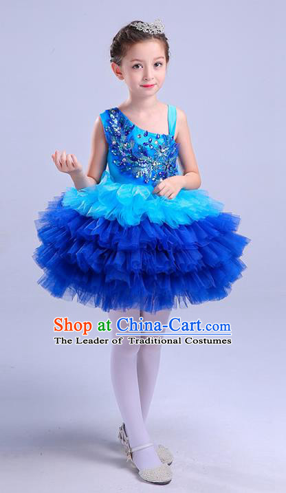 Top Grade Chorus Costumes Children Modern Dance Clothing Blue Bubble Dress for Kids