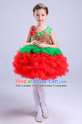 Top Grade Chorus Costumes Children Modern Dance Clothing Red Bubble Dress for Kids
