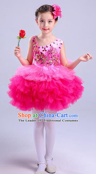 Top Grade Chorus Costumes Children Modern Dance Clothing Pink Bubble Dress for Kids