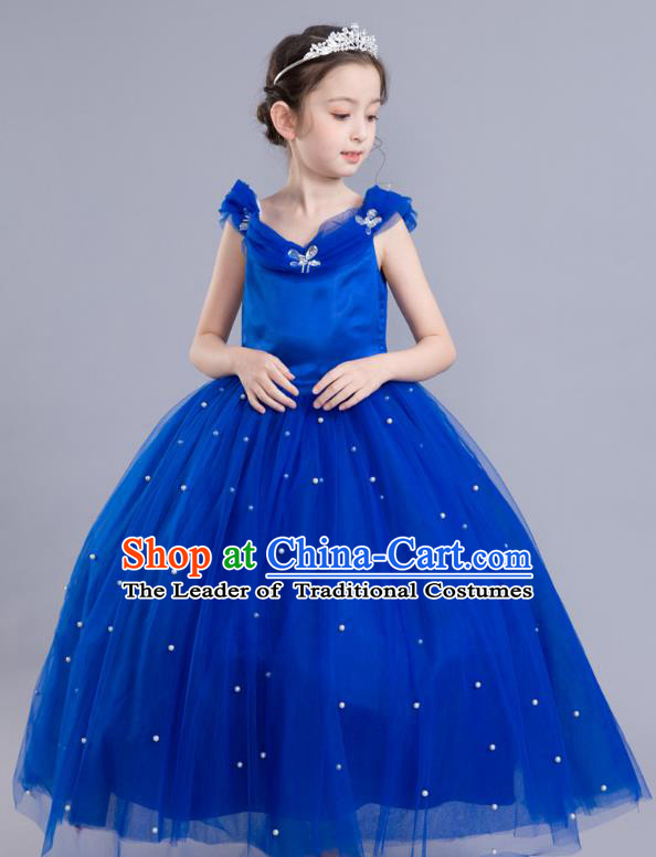 Top Grade Chorus Costumes Children Modern Dance Clothing Princess Blue Veil  Bubble Dress for Kids