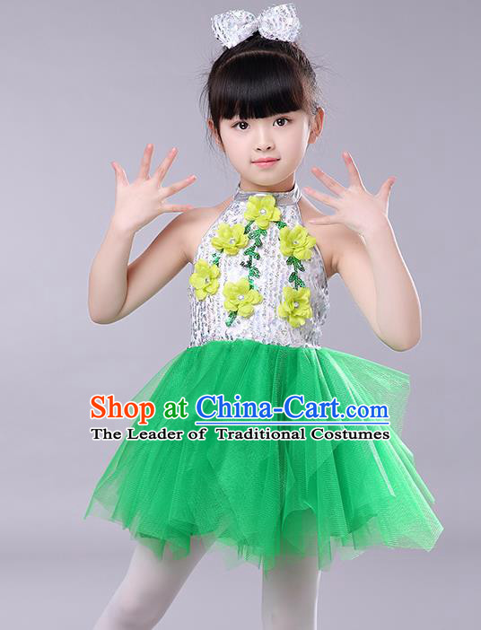 Top Grade Chorus Stage Performance Costumes Children Modern Dance Clothing Green Veil Bubble Dress for Kids