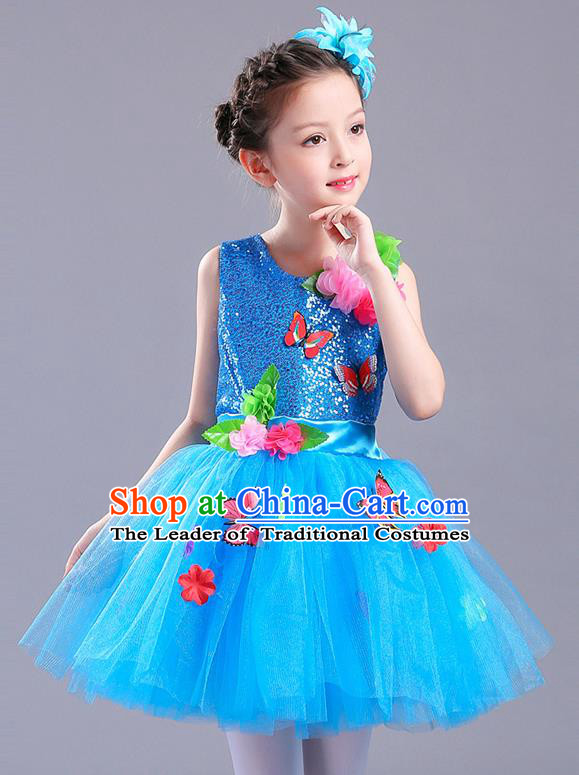 Top Grade Chorus Stage Performance Costumes Children Modern Dance Butterfly Clothing Blue Veil Bubble Dress for Kids
