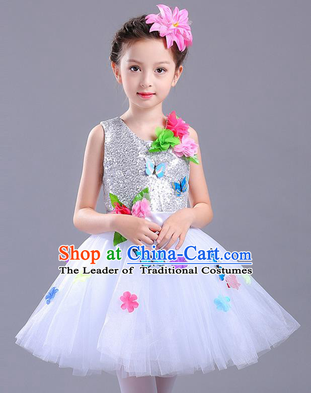 Top Grade Chorus Stage Performance Costumes Children Modern Dance Butterfly Clothing White Veil Bubble Dress for Kids