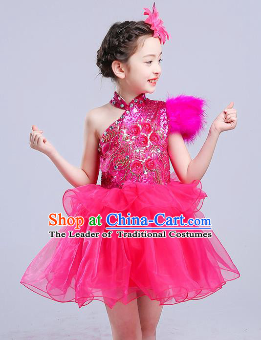 Top Grade Chorus Stage Performance Costumes Rosy Veil Bubble Dress Children Modern Dance Clothing for Kids