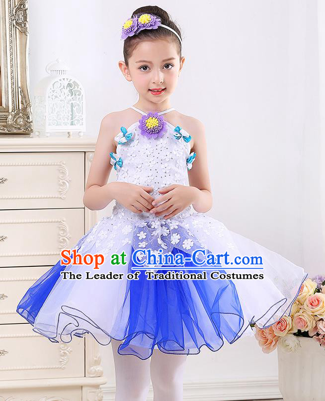 Top Grade Chorus Stage Performance Costumes Girls White Veil Bubble Dress Children Modern Dance Clothing for Kids