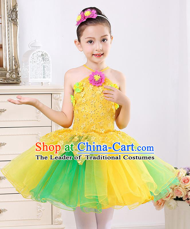 Top Grade Chorus Stage Performance Costumes Girls Yellow Veil Bubble Dress Children Modern Dance Clothing for Kids