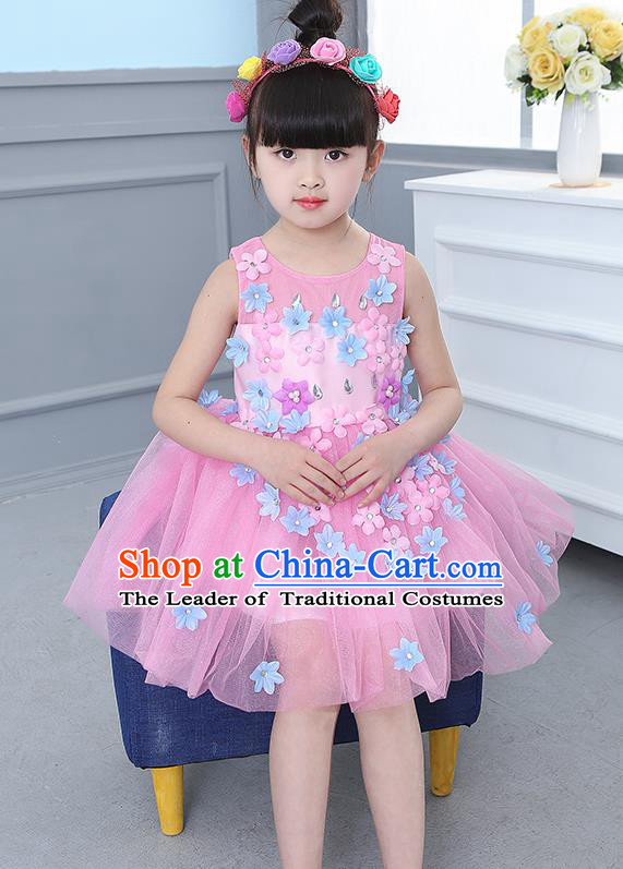 Top Grade Chorus Stage Performance Costumes Flower Fairy Pink Veil Bubble Dress Children Modern Dance Clothing for Kids