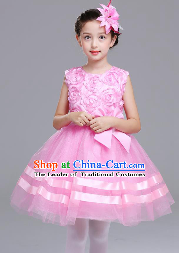 Top Grade Chorus Stage Performance Costumes Flower Fairy Pink Rose Bubble Dress Children Modern Dance Clothing for Kids