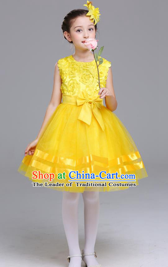 Top Grade Chorus Stage Performance Costumes Flower Fairy Yellow Rose Bubble Dress Children Modern Dance Clothing for Kids