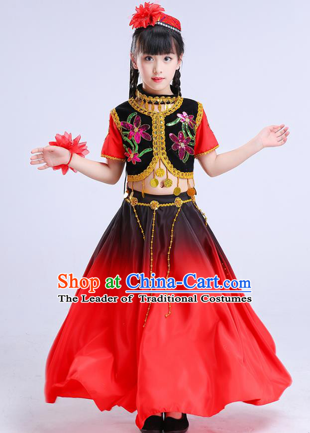 Chinese Traditional Folk Dance Costumes Uyghur Nationality Dance Red Dress Children Classical Dance Clothing for Kids