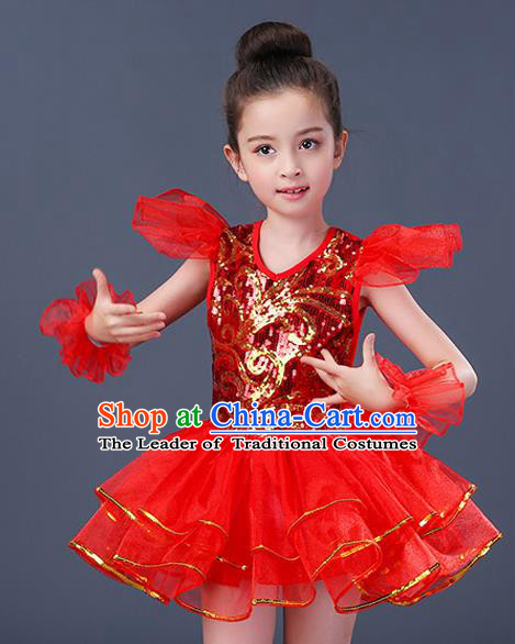 Top Grade Chorus Costumes Stage Performance Jazz Dance Red Dress Children Modern Dance Clothing for Kids