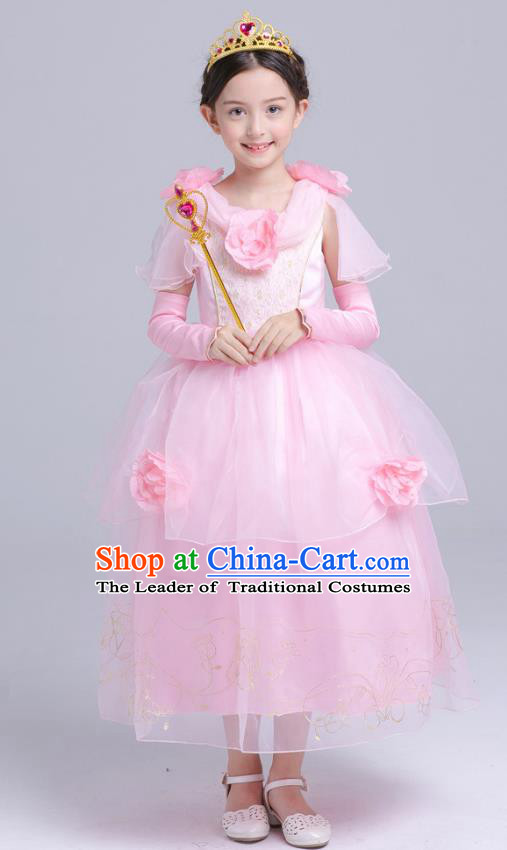 Top Grade Chorus Costumes Stage Performance Princess Pink Veil Dress Children Modern Dance Clothing for Kids