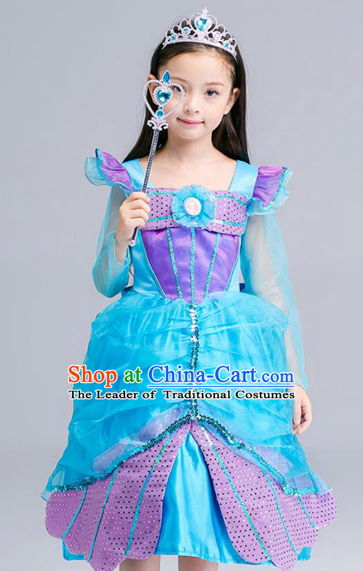 Top Grade Halloween Costumes Stage Performance Princess Blue Full Dress Children Modern Dance Clothing for Kids