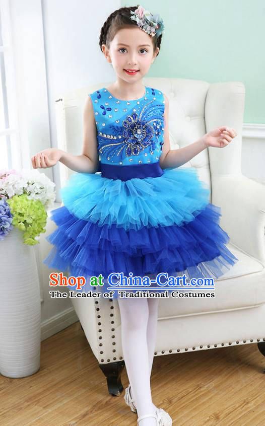 Top Grade Chorus Costumes Stage Performance Princess Crystal Blue Bubble Dress Children Modern Dance Clothing for Kids