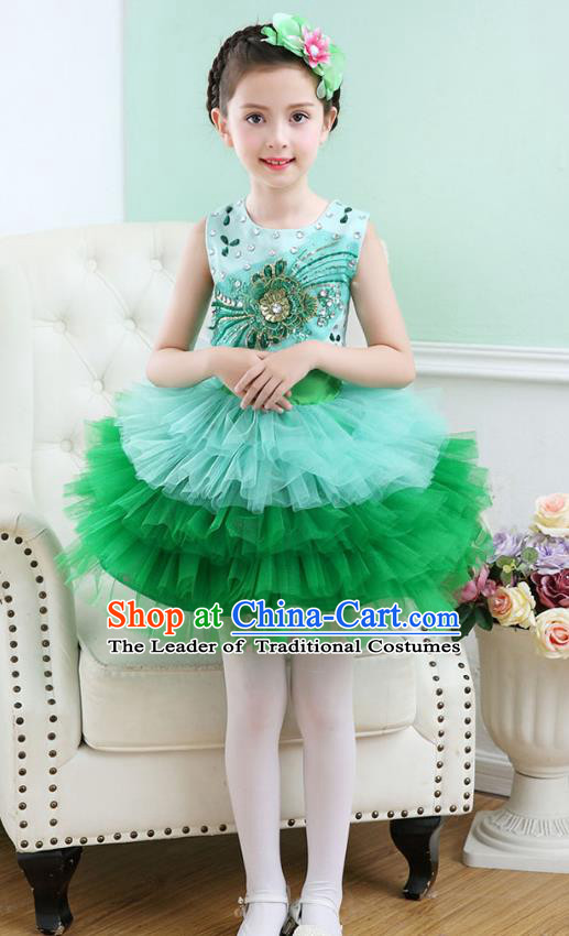 Top Grade Chorus Costumes Stage Performance Princess Crystal Green Bubble Dress Children Modern Dance Clothing for Kids