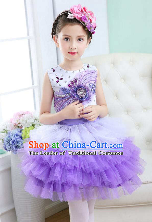 Top Grade Chorus Costumes Stage Performance Princess Crystal Purple Bubble Dress Children Modern Dance Clothing for Kids