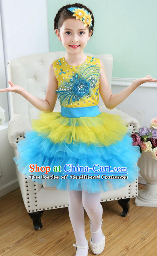 Top Grade Chorus Costumes Stage Performance Princess Crystal Yellow Bubble Dress Children Modern Dance Clothing for Kids