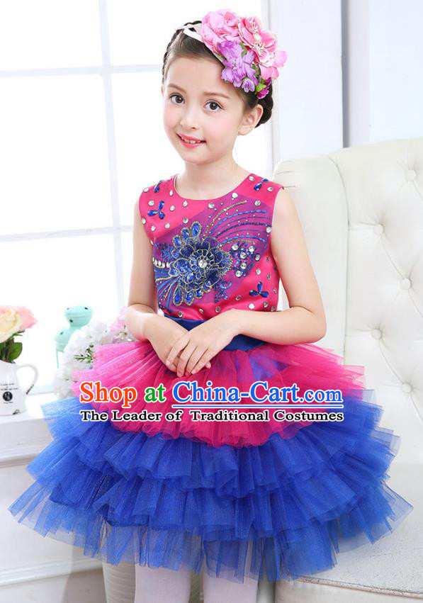 Top Grade Chorus Costumes Stage Performance Princess Crystal Rosy Bubble Dress Children Modern Dance Clothing for Kids