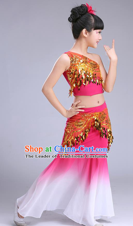 Chinese Traditional Folk Dance Costumes Pavane Dance Rosy Dress Children Classical Peacock Dance Clothing for Kids
