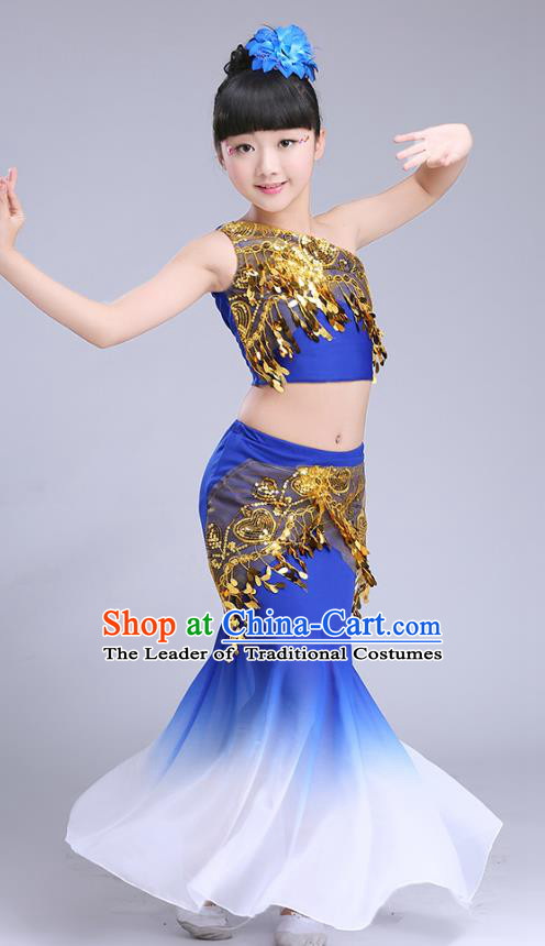 Chinese Traditional Folk Dance Costumes Pavane Dance Royalblue Dress Children Classical Peacock Dance Clothing for Kids