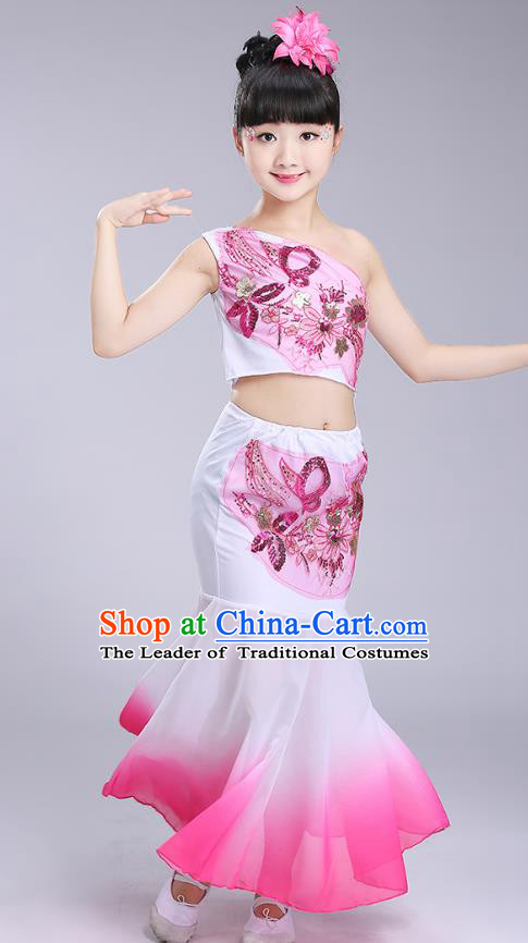 Chinese Traditional Folk Dance Costumes Dai Nationality Pavane Pink Dress Children Classical Peacock Dance Clothing for Kids