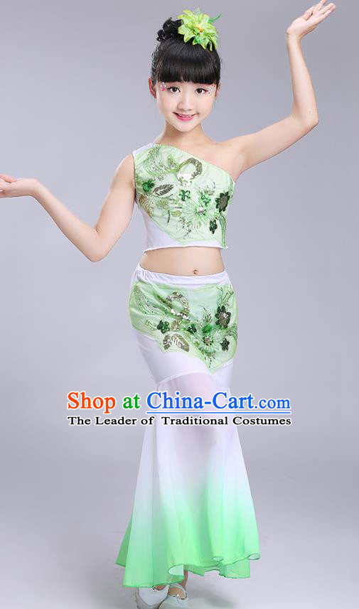 Chinese Traditional Folk Dance Costumes Dai Nationality Pavane Green Dress Children Classical Peacock Dance Clothing for Kids