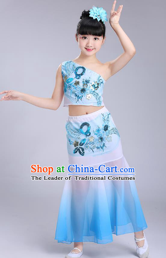 Chinese Traditional Folk Dance Costumes Dai Nationality Pavane Blue Dress Children Classical Peacock Dance Clothing for Kids
