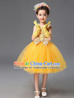 Top Grade Princess Yellow Bubble Dress Stage Performance Chorus Costumes Children Modern Dance Clothing for Kids