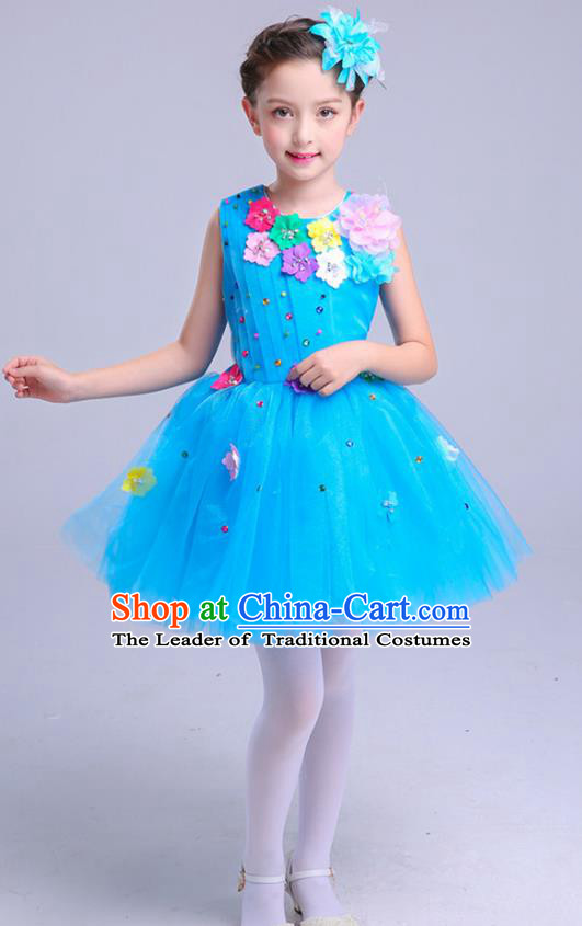 Top Grade Princess Blue Bubble Dress Girls Stage Performance Chorus Costumes Modern Dance Clothing for Kids