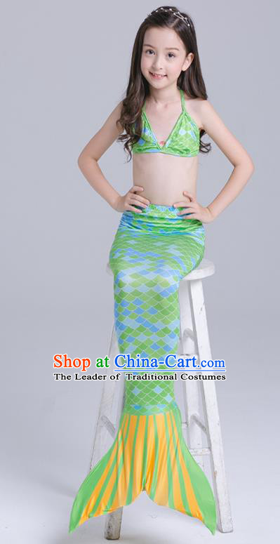 Top Grade Girls Mermaid Dress Stage Performance Green Swimwear Costumes Swimsuit for Kids