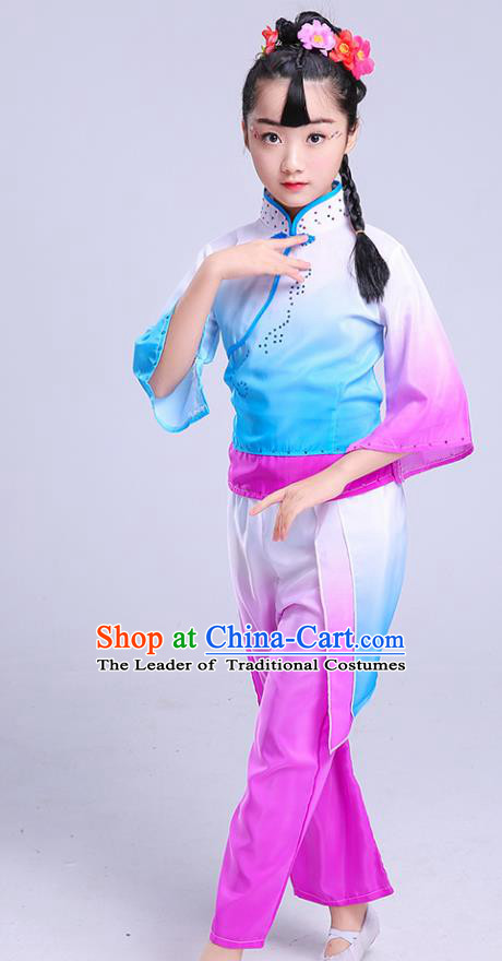 Chinese Traditional Folk Dance Fan Dance Costumes Children Classical Dance Yangko Clothing for Kids