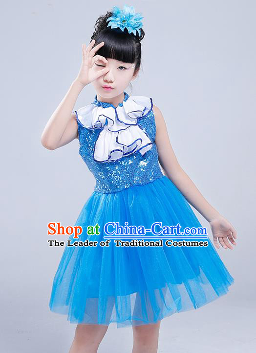 Top Grade Princess Dress Girls Stage Performance Chorus Costumes Blue Bubble Dress for Kids