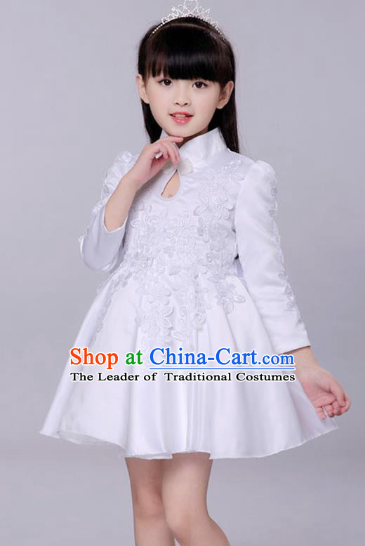 Top Grade Princess Dress Girls Stage Performance Chorus White Cheongsam Costumes Bubble Dress for Kids