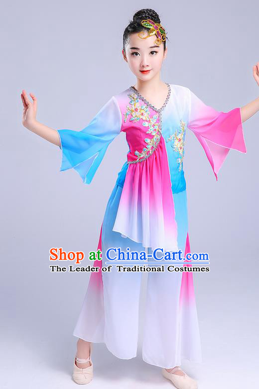 Chinese Traditional Folk Dance Yangko Blue Costumes Children Classical Dance Fan Dance Clothing for Kids