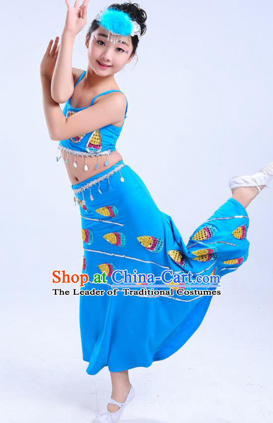 Chinese Traditional Folk Dance Costumes Children Dai Nationality Peacock Dance Classical Dance Blue Dress for Kids