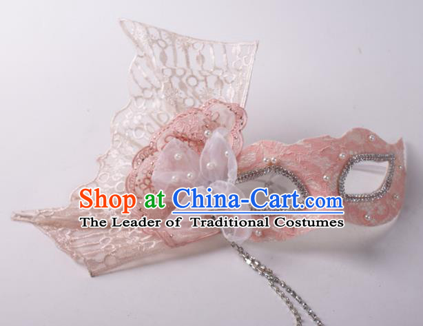Halloween Fancy Ball Props Exaggerated Face Mask Stage Performance Accessories Pink Lace Masks