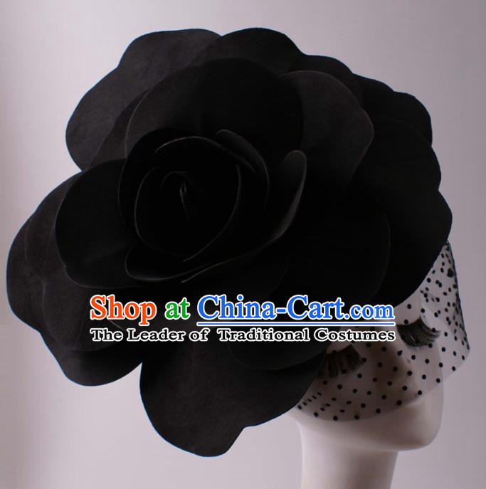 Top Grade Halloween Hair Accessories Stage Performance Modern Fancywork Headwear Black Flowers Headdress