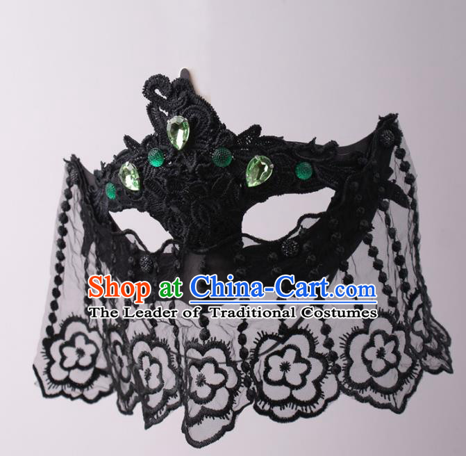 Halloween Fancy Ball Props Exaggerated Black Lace Queen Face Mask Stage Performance Accessories Christmas Masks