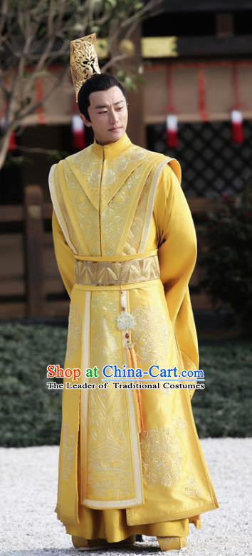 Chinese Teleplay Tribes and Empires Storm of Prophecy Ancient Majesty Dragon Robe Emperor Embroidered Costumes for Men