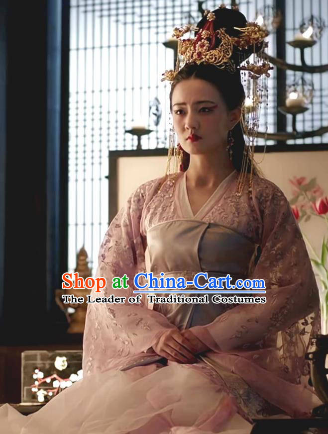 Chinese Teleplay Tribes and Empires Storm of Prophecy Ancient Imperial Empress Embroidered Costumes and Headpiece for Women